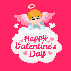 Baby angel vector cartoon character. Happy Valentines Day. Angel wings on a cloud. Greeting card. Cupid lying on a cloud isolated illustration. Eps 10.