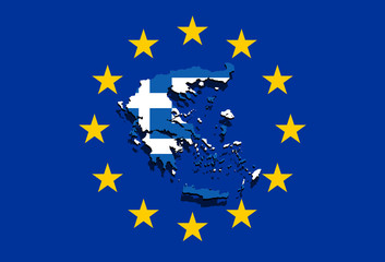 close up on Greece map on Euro Union background