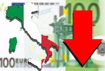 Italy map on Euro money background and red arrow down