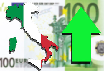 Italy map on Euro money background and green arrow rising