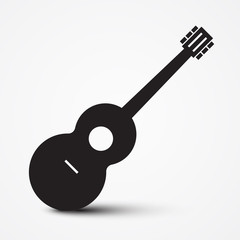 Guitar Icon. Simple Vector Musical Instrument Symbol.