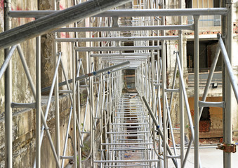 Scaffolding using in Construction Site