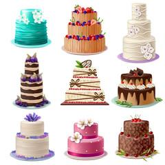 Sweet Baked Cakes Set