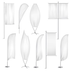 Blank White Flags Banners Realistic Set