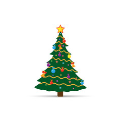Decorated Christmas tree isolated on white background.