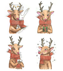 Hand-drawn watercolor portraits of the cute cartoon deers. Illustrations for greeting card, posters, banners. Christmas illustration