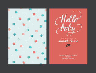 Baby shower boy or girl invitation, vector templates. Pastel cards with watercolor dots and hand drawn text on red background.