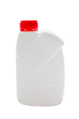 White plastic can for motor oil with cap isolated on a white background. Recyclable waste series.