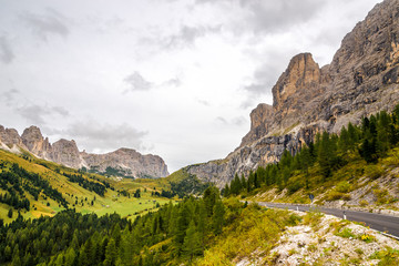 Wall Mural - Road to Gardena Pass in Italy Dolomites