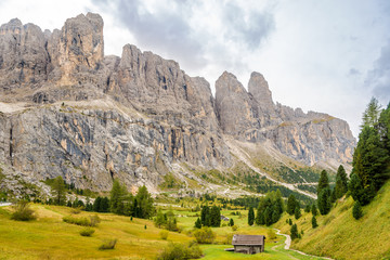 Wall Mural - Nature near Gardena Pass in Dolomites of Italy