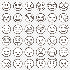 Vector Outlined Emoticon big set