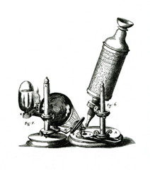 Hooke's microscope, from an engraving in his Micrographia