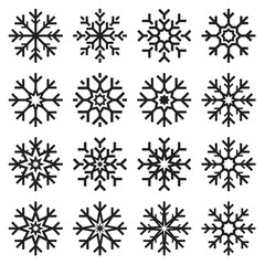 Vector snowflakes set on white background, winter icons silhouette, 16 ice stars, vector elements for your Christmas and New Year holiday design projects
