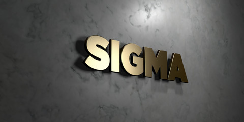 Sigma - Gold sign mounted on glossy marble wall  - 3D rendered royalty free stock illustration. This image can be used for an online website banner ad or a print postcard.