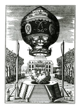 First flight of hot air ballon of brothers Joseph Michel and Jacques Etienne Montgolfier