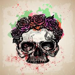 Photo sur Aluminium Crâne aquarelle череп с цветами эскиз татуировки акварель на грандж фоне