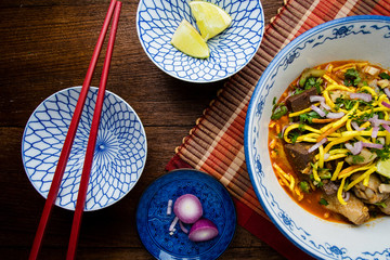 Khao soi - Traditional Thai Food, Khao Soi Thai Noodle Curry Sou