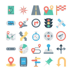 Map and Navigation Colored Vector Icons 1