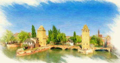 Panorama of Strasbourg, medieval bridge Ponts Couverts. Alsace,