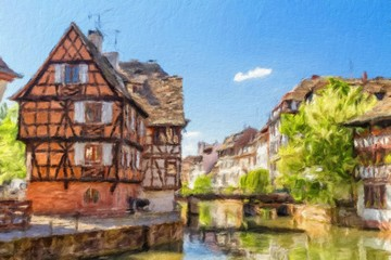 House tanners, Petite France district. Strasbourg, France. Oil p
