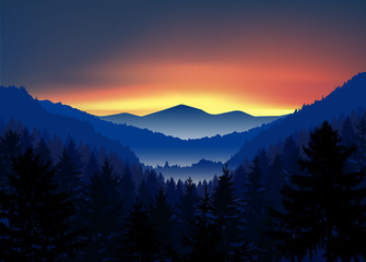 Panorama of mountains. Valley(canyon). Three peaks. Evening. Aurora.