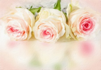Wedding background with roses. Oil painting effect.