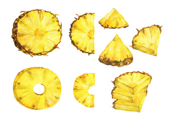 Set of slice ripe pineapple. Watercolor illustration on a white background.