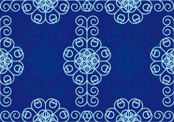 Blue wavy frame vector. Blue patterned background. Blue floral wallpaper