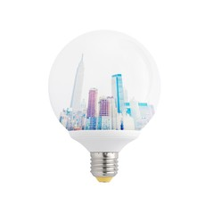NYC skyline inside a light bulb. Isolated on white.