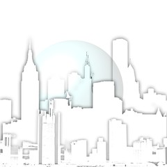 Abstract nyc skyline with bubble.