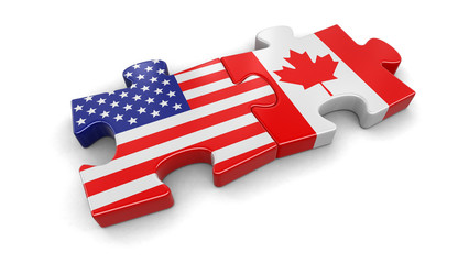 USA and Canada puzzle from flags. Image with clipping path