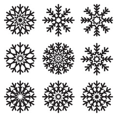 Vector snowflakes set on white background, winter icons silhouette, nine ice stars, vector elements for your Christmas and New Year holiday design projects