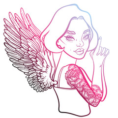 criminal beautiful girl with guns. vector illustration with sexy girl, tattoo style. line art. James Bond girl with beautiful wings. sexy angel with wings.