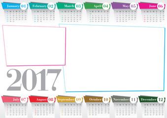 calendar 2017 with 2 photo frames