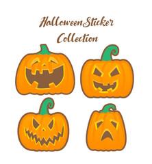 Halloween pumpkin collection in cartoon style.