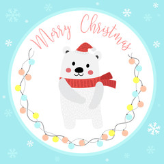 Cute Happy Polar Bear merry christmas card design with color light bulbs garland on blue background. Season's greetings. Vector Illustration.