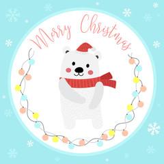 Cute Happy Polar Bear merry christmas card design with color light bulbs garland on blue background. Season's greetings. Vector Illustration.