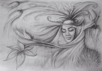 Painted pencil girl with flying hair in the wind, and my eyes closed smiling surrounded by flowers