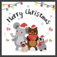 Happy animals Merry christmas color light bulbs. Elephant. Penguin. Bear. Pug dog. Season's greetings. Vector Illustration.