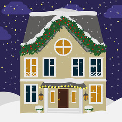 Cute house in the snow. Christmas landscape background with cottage