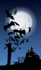halloween holiday banner with vampire, flying bats, a castle sil