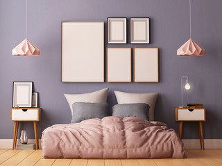 mock up posters in bedroom interior. Interior hipster style. 3d rendering, 3d illustration.