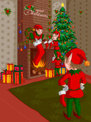 Elf decorating fireplace in Merry Christmas holiday background