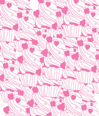 beautiful colorful background with picture of cakes with hearts in pink tones