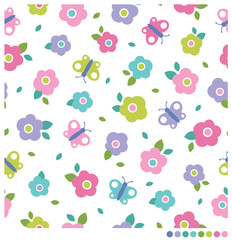Cute pastel simple flower and butterfly seamless vector pattern