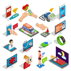 Digital Medicine Isometric Icons Set
