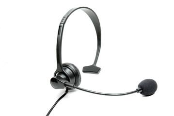 Black Telephone Headset Isolated on a White Background
