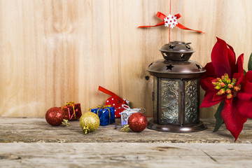 Christmas decorations on the wooden background. Christmas star,