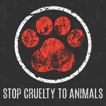 Vector. Social problems. Stop cruelty to animals.