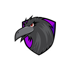 Crow Head on Purple Shield